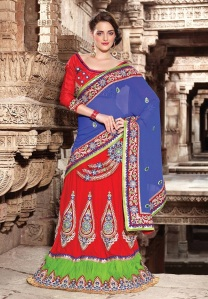 Wedding Wear Red And Blue Pure Viscose Saree With UnStitched Blouse